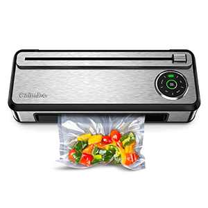 CalmDo Vacuum Sealer Machine with Automatic Bag Detection and Cleaning System, Fully Automatic Food Sealer for Food Saver, Compact Design with Built-in Cutter and Roll Bags, V77