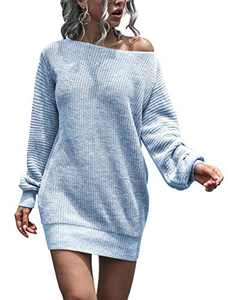 Women's Crewneck Sweater Dress Long Pullover Knitted Sweater Mini Dress (Blue, Medium)