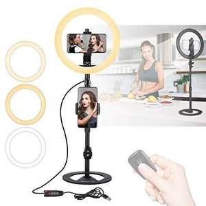 """10"""" Desktop Selfie Ring Light with Adjustable Metal Stand and Phone Holder for Laptop/PC/Monitor/Desk/Bed/Office/Makeup/YouTube/TIK Tok Videos"""