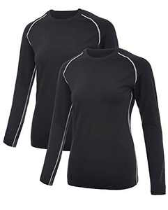 SILKWORLD Women's Compression Shirts Dry Fit Athletic Running Long-Sleeved Sports Workout Baselayer, Black#2 (Pack of 2), X-Small