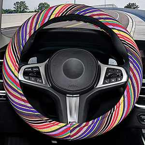 Yellow Boho Steering Wheel Cover for Women with Memory Foam,Sweat Absorption, Fashion and Personality,Rainbow-Yellow,Rainbow-Yellow