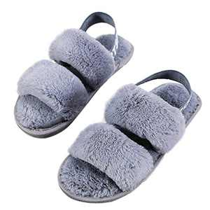 Walk Diary Slippers for Women Sandals Slide Slipper Soft Plush Fuzzy Slippers Cozy Open Toe House Slippers Memory Foam Elastic Strap Slip on Anti-Skid Sole
