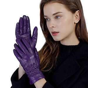 GSG Women Gloves Genuine Leather Touchscreen Soft Motorcycle Driving Warm Gloves Purple Small