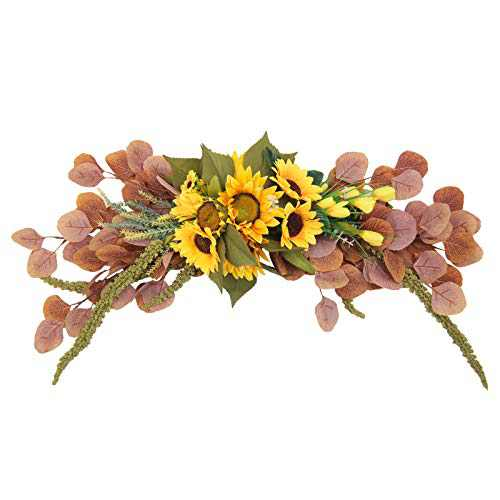 U'Artlines Sunflower Swag Wreath Hanging Autumn Front Door Garland for Home Party Window Wall Decoration (27.5'' Sunflower/Eucalyptus Swag)