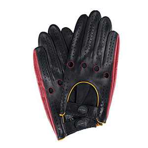 FIORETTO Mens Driving Motorcycle Gloves Touchscreen Original Design Italian Leather Gloves Unlined for Men