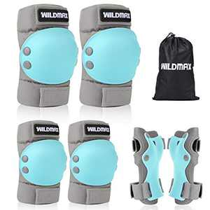 WILDMAX Kids Protective Gear Set Knee Pads for Kids 6-13 Years Toddler Knee and Elbow Pads with Wrist Guards for Skateboarding Inline Roller Skating Cycling BMX Bike Scooter Riding Sports