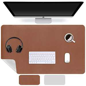 """HHAOCOO Dual Sided Desk Mat,23.6"""" x 13.7"""" PU Leather Desk Pad Desk Blotter Protector Extended Mouse Pad Writing Pad Large Gaming Mouse Mat Home Office Accessories (Brown&Grey, 23.6"""" x 13.7"""")"""