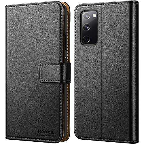HOOMIL Wallet Case for Samsung Galaxy S20 FE Case, [Military Grade Drop Tested] Luxury PU Leather Flip Case for Samsung S20 FE Case with Card Holder, Shockproof Phone Cover 5G/4G 6.5 Inch, Black