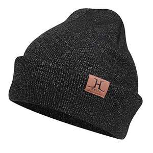 AQOTHES Womens Winter Beanie Daily Slouchy Knit Warm Fleece Lined Skull Hat for Women Black Grey