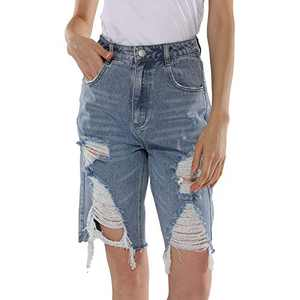 EYESHOCK Ripped Jean Shorts for Women High Waisted Distressed Bermuda Denim Shorts