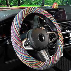 Himomet 15inch Universal Boho Steering Wheel Cover for Girls,Cute Baja Blanket Car Steering Wheel Cover with Ethnic Style Coarse Flax Cloth,Boho-Green3