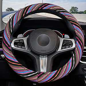Cloth Steering Wheel Cover with Ethnic Style Coarse Flax Cloth ,Cute Memory Flom Steering Wheel Cover for Women and Men,Fit Most Cars ,Rainbow-Dark