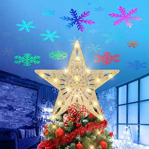 VSATEN Christmas Tree Topper Lighted Star Tree Topper with LED Rotating Colorful Snowflake Projector Lights, Glitter Hollow Golden Star Snow Tree Topper for Xmas/Christmas Tree Festival Decorations