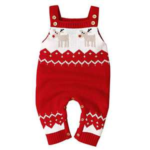 Untyo Baby Christmas Sweater Toddler Reindeer Outfit Red Clothes (18-24 Months, Red)