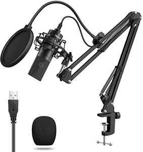 PC Microphone Kit: Gaming Microphone Plug & Play USB Computer Mic Cardioid Podcast Condenser Microphone with Professional Sound Chipset for YouTube, Gaming Recording