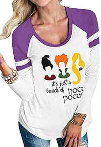 UNIQUEONE It's Just A Bunch of Hocus Pocus Halloween T-Shirt Women Sanderson Sisters Funny Baseball Tops Tee (Purple, Small)