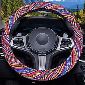 Himomet Blue Boho Memory Flom Steering Wheel Cover for Women,Unverisal Cloth Baja Blanket Enthic Steering Wheel Cover with Pretty Driving Feel Boho Steering Wheel Cover,Boho-Blue3