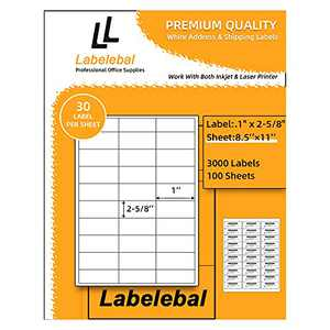 """Labelebal 30-UP Address Labels 1"""" x 2-5/8"""" Permanent Adhesive Shipping Label Mailing Stickers Easy Peel & Feed, for Laser & Inkjet Printers (100 Sheets,Total 3000 Labels)"""