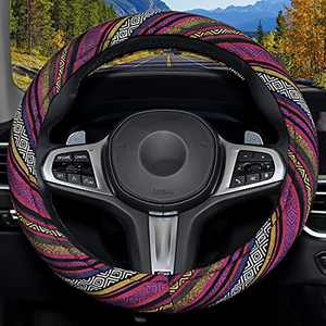 Himomet Cute Lady Steering Wheel Cover with Memory Flom,Boho Car Steering Wheel Cover for Women,15 Inch Unverisal Cloth Baja Blanket Enthic Steering Wheel Cover with Pretty Driving Feel.Boho-DarkRed