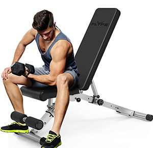 FLYFE Adjustable Weight Bench – Foldable and Compact Workout Bench – Incline and Decline Flat Utility Weight Bench – Strength Training Fitness Bench for Full Body Workout – Easy to Install and Carry