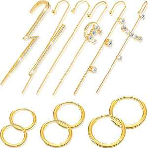 12 Pieces Hoop Earrings Cartilage Earring Ear Cuff Wrap Crawler Hook Earrings Classic 8 mm 10 mm and 12 mm Nose Lip Rings Jewelry Earrings Set for Women
