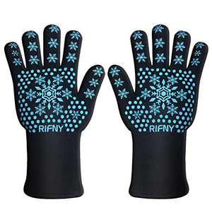 RIFNY BBQ Gloves, Grill Gloves Protect to 1472°F Extreme Heat Resistant Fireproof Barbecue Oven Gloves, Kitchen Baking Gloves Non-Slip Silicone Coating Universal Size for Grilling,Cooking,Black