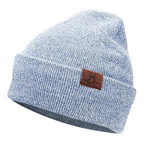 AQOTHES Womens Winter Beanie Daily Slouchy Knit Warm Fleece Lined Skull Hat for Women Blue