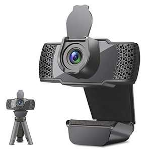 1080P Webcam with Microphone for Desktop,USB Webcam with Tripod and Cover, Plug and Play Computer Webcam Compatible with Zoom/Skype/Facetime/Teams