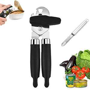 Can Opener Handheld, Heavy Duty Manual Can Opener, Ergonomic Smooth Edge Manual Side Bottle Openers & Tin Openers, Vegetable Peeler Include, Black