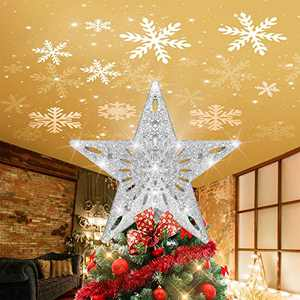 VSATEN Christmas Tree Star Topper Lighted with LED Rotating White Snowflake Projector Lights, Glitter Hollow Silver Star Snow Tree Topper for Xmas Christmas Tree Decorations - Silver
