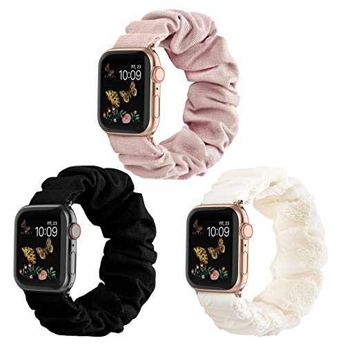 Compatible for Scrunchie Apple Watch Band 38mm 42mm 40mm 44mm Cute Print Elastic Watch Bands Women Bracelet Strap for Apple iWatch Series 6 5 4 3 2 1(3 Pack, 38/40mm-Small)