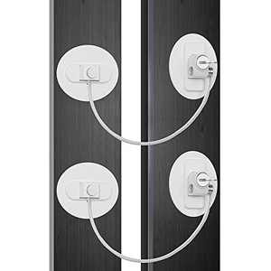 Refrigerator Lock, Child Proof Safety Locks, Super Strong Adhesive No Drilling, Easy to Install for Mini Fridge, Freezer, File Cabinet, Doors and Windows Security Locks(2 Pack)