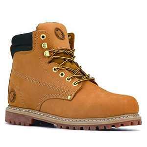 ROCKROOSTER Underwood Men's Steel Toe Work Boots Comfort Memo Boots, Nubuck Leather, Slip-Resistant Rubber Sole Construction Boots, AP9952-13