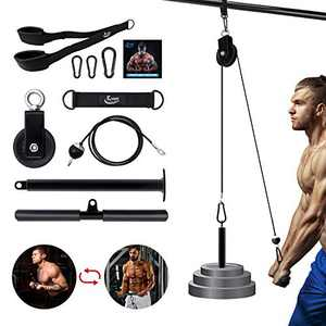 KMM Pulley System Gym for Weight Training, LAT Pull Down Machine Cable Pulley Attachment Home Gym Workout Equipment with Upgraded Loading Pin, Straight Bar, for Biceps Curl, Forearm, Triceps Exercise