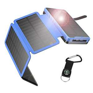 IEsafy Solar Charger 26800mAh, Outdoor Solar Power Bank with 4 Foldable Solar Panels and 2 High-Speed Charging Ports for Smartphones, Tablets, Samsung, iPhone with Waterproof LED Flashlight(Blue)