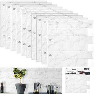 "M MORCART Stick on Backsplash Tiles ,Peel and Stick Ceramic Tiles for Kitchen Bathroom Decorating Ideas(10-Sheet 12""x12"" Carrara Subway Tiles)"