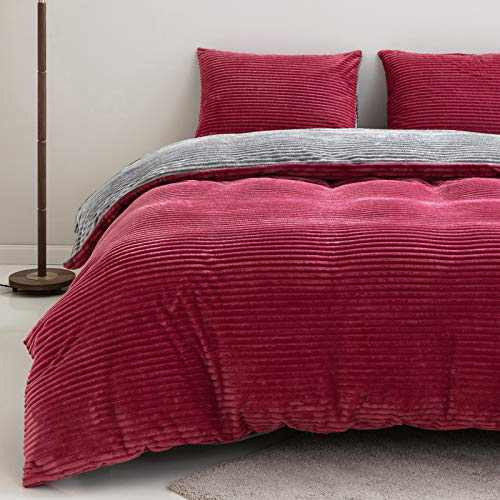 """SIGOODS Velvet Flannel Duvet Cover Sets Twin Size Comforter Cover Bedding Set Super Warm Striped Design Quilt Cover with Pillowcase 2 Pieces Luxury Fuzzy Soft Cover Set (66""""x90"""") - Red and Grey"""