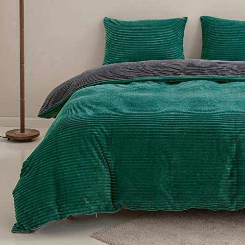 "SIGOODS Velvet Flannel Duvet Cover Sets Queen Size Comforter Cover Bedding Set Super Warm Striped Design Quilt Cover with Pillowcase 3 Pieces Luxury Fuzzy Soft Cover Set (90""x90"") - Green and Grey"
