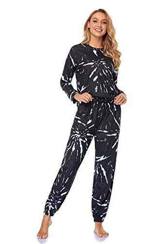 XIOBTQT Womens Tie Dye Pajamas Set Long Sleeve Sweatsuit Loungewear PJ Sets Nightwear Joggers with Pockets,Medium Black