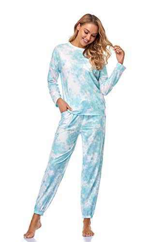 XIOBTQT Womens Tie Dye Pajamas Set Long Sleeve Sweatsuit Loungewear PJ Sets Nightwear Joggers with Pockets,Small Green