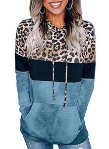 Aleumdr Womens Casual Lightweight Long Sleeve Leopard Striped Color Block Soft Drawstring Hooded Long Tunic Sweatshirts and Hoodies Blue Large 12 14