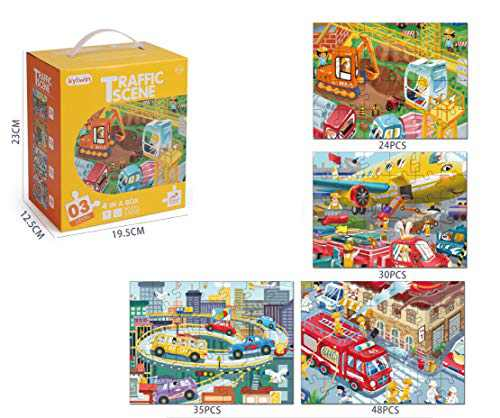Transportation 4-in-a-Box Theme Paper Jigsaw Puzzles 137 Pieces, Suitable for Children Aged 3-8-traffic Intellectual Education Puzzle Game