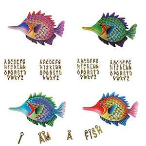 Metal Fish Hanging Wall Art Decor,4 Wrought Iron Ocean Sea Tropical Fish and 4 Sets A-Z Letters, Handmade coastal Fish Decor Indoor or Outdoor ,Letters Express Your views and Ideas.