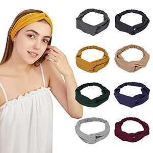 8 Pack Knotted Boho Headbands for Women Girls Cloth Cross Twist Hairband Warm in Winter sweat bands Suit for Workout, Yoga, and Daily Life