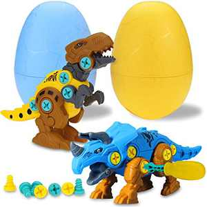 TOPBRY Take Apart Dinosaur Easter Eggs Toys, 2 Pack Dino Set with Tools, STEM Learning Play Kit for Boys Girls Age 3 4 5 6 7 Year Old