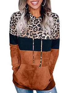 Aleumdr Women's Plus Size Casual Color Block Leopard Patchwork Lightweight Pullover Hoodie Sweatshirts Tops with Pockets Orange Large 12 14