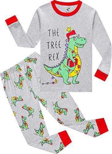 Pajamas Boys Christmas Kids Children Dinosaurs Pjs Holiday Long Sleeve Pants Set Gift Set Size 8