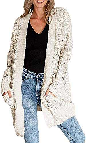 Nailyhome Womens Casual Long Sleeve Open Front Cable Knit Cardigan Sweater Loose Cloak Outwear with Pocket Beige
