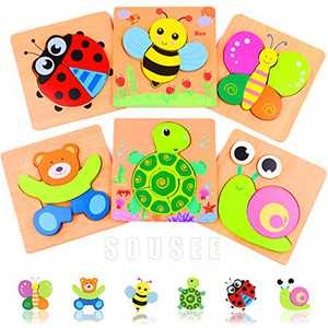 Wooden Puzzles for Toddlers 1-3 Early Educational Learning Toys Animals Shape, 6 Pack