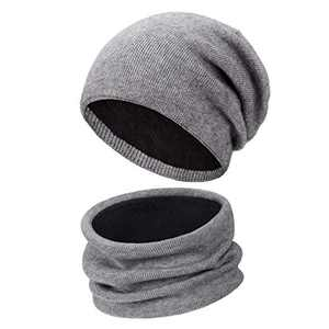 Winter Hats Scarf Set for Men and Women, Thick Knit Soft Double-Layer Plush Lining Hat and Neck Warmer, for Dad, Mom, Boyfriends, Girlfriends (Grey)